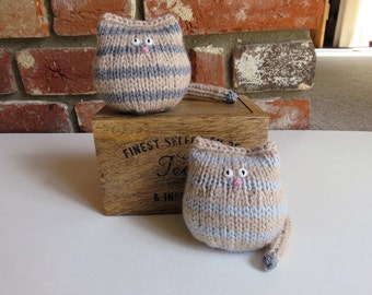 Stripey Grey Hand Knitted Cat