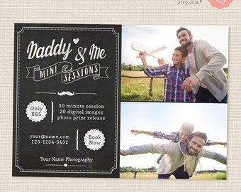 Fathers Day Mini Sessions, Daddy and Me Mini Session Template, Marketing Board, Photoshop Template, Photography Marketing Set, Chalkboard
