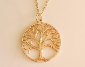 Tree Pendant Necklace, Tree of Life Pendant Necklace, Family Tree Pendant Necklace, Gold Pendant Necklace