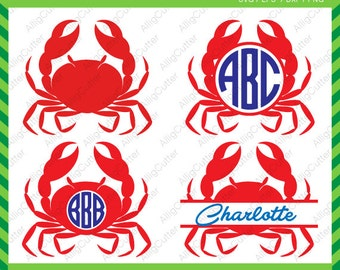 Sea Crab Monogram Split Frames SVG DXF PNG eps Summer Nautical Cut Files for Cricut Design, Silhouette studio, Sure Cut A Lot,Makes the Cut
