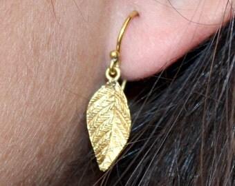 Sterling Silver Leaf Earrings- Modern Leaf Dangle Earrings - Gold Leaf Earrings