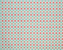 Coral Mint and Gold Fabric, Diamond Print Quilting and Apparel Fabric, Premium Quality Fabric