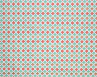 Coral Mint and Gold Fabric, Fabric by the yard, Fat Quarter, Quilting Fabric, Apparel Fabric, 100% Cotton Fabric