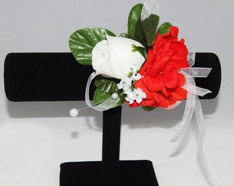 White & Red Flower Corsage
