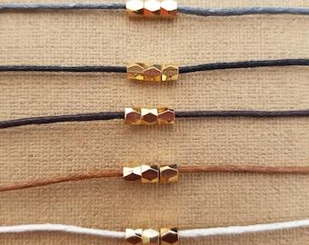 "18k gold plated bead choker, cotton cord choker, choker necklace preferred color, 14"" to 16"" long choker"