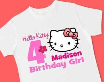 Hello Kitty Birthday Tee. Personalized Birthday T-Shirt. Personalized with Name, Age or Number. 1st 2nd 3rd 4th 5th 6th Birthday. (15040)
