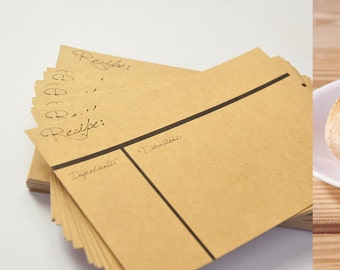 "Recipe cards, note cards, double thick card stock 4""x6"" , kraft chipboard cardstock, 100 pcs."