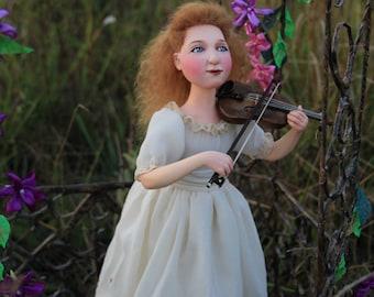 "OOAK Art doll ""Little violinist."" Height 38 cm."
