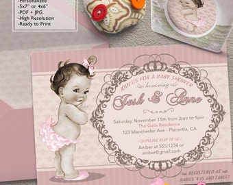 Vintage Baby Girl Baby Shower invitations little retro baby girl DIY printable couples baby shower invite
