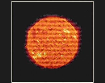 Sun Cross Stitch Pattern PDF - Planet Solar System