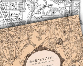 Japanese Rhapsody in the Forest Colouring Book // Nature Animal Wildlife Woodland Bird Flower Garden Four Seasons.. //