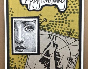 Steampunk Birthday Card - Handmade Card- Birthday Card - 3D Birthday Card - Unique Birthday Card - Vintage Card