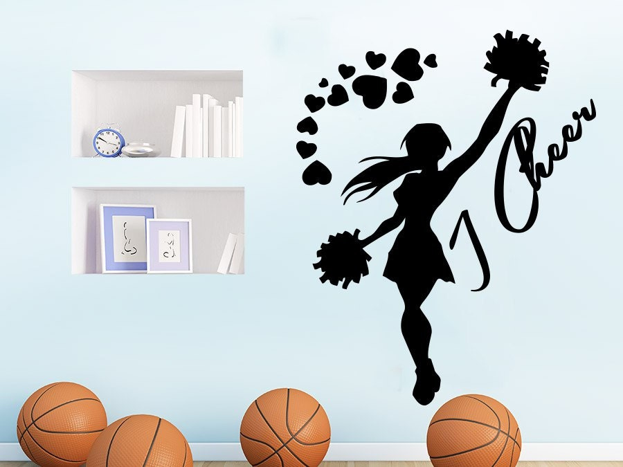I cheer wall decal sports girl cheerleader sport wall decals for Cheerleader wall mural