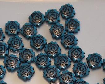 15 Square acrylic beads,aqua/black,8x8mm