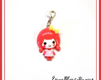 Planner Girl charm, Red, Planner Charm, Kawaii charm, Cute charm, Lovely Charm, Planner Accessories, Bag charm, Purse charm