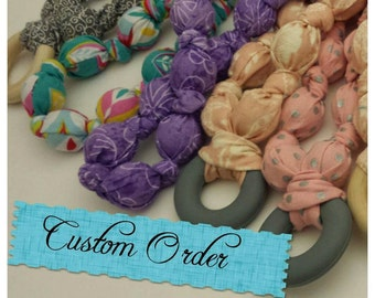 Custom Nursing Necklace Teething Necklace. Made to order wood silicone cloth necklace adjustable