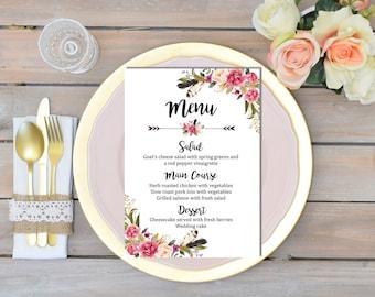 Pink Floral Wreath Printable Wedding Menu, Floral Boho Wedding Menu, Boho Menu, Boho Bridal Shower Menu, Printable Menu, Download 106-W