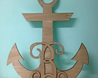 Laser Cut  Unpainted Anchor Door Hanger / Wall Decor- Can customize to  any letter