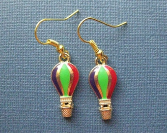 Hot Air Balloon Earrings - Balloon Earrings - Dangle Earrings -- E112