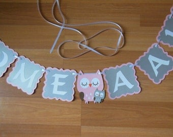 Owl Baby Shower Banner, Owl baby Shower Ideas, Owl Personalized Banner, Owl baby shower decoration