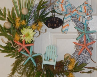 Beach Theme Summer Grapevine Wreath