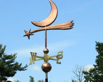 Copper Star and Moon Weathervane BH-WS-348