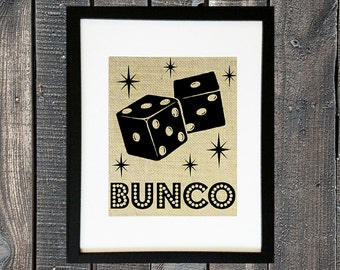 BUNCO Party Group Decor Ladies Girls Night Out Welcome to Bunko Game Night Hostess Gift Idea Burlap Sign with Dice Wall Hanging Table Decor