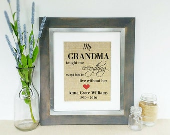 GRANDMA Personalized Memorial Burlap Art Print GRANDMOTHER Tribute Wall Hanging In Memory of Sympathy Gift Death of a Loved One Print Only