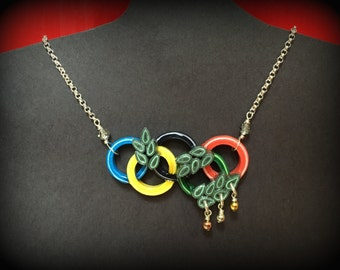 Olympic rings paper handmade pendant with chain