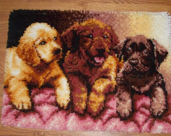 Large 3 Sweet Puppies Latch Hook Rug/Wall hanging