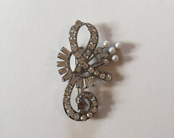 Cool Stylish Music Lover's Large Sterling Silver, Rhinestone, and Faux Pearl Bass Cleft Brooch