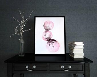 SALE** Original Abstract Watercolour Circles Painting A3