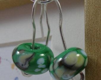 Lampwork glass bead earrings