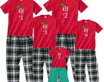 Elf #1, #2, #3, etc Family Matching Holiday Outfits - FREE SHIPPING, Each Shirt-Pant Set Sold SEPARATELY, Whole Family Sizes (753)