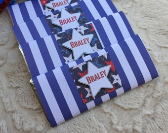 birthday chocolate bar favors, custom chocolate bar wrappers, Candy bar wrappers, red and blue birthday, red and blue wedding favors