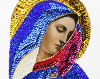 large colorful VIRGIN Mary, sequin applique patch