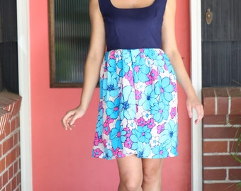 Fit and flare dress made with vintage fabric