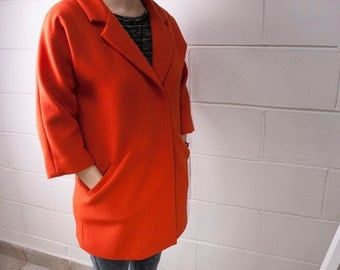 Coat wool double crepe orange - in printed silk lining