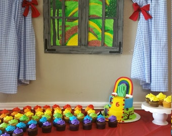 Wizard of Oz Backdrop window to Emerald City for birthday party
