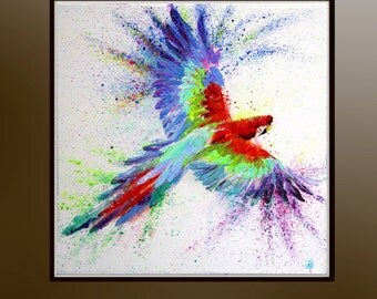 Flying parrot, Boba art, Acrylic painting, Parrot art, Original painting, Bird