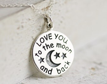 Love You to the Moon and Back Necklace  Sterling Silver Love You to the Moon Pendant  Love You to the Moon Quote  Love Jewelry Love Necklace