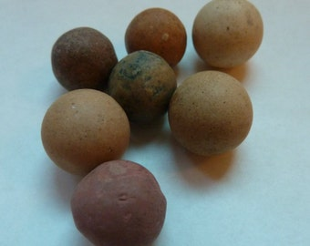 Antique Clay Marbles - Lot of Seven Vintage Marbles - Red, Purple, Taupe - Assorted Sizes