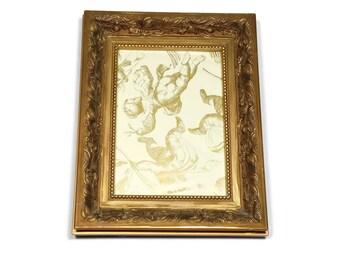 Ornate Picture Frame Gold Tabletop Frame 5x7 Elegant Wide Frame with Floral Leaf Design Wedding Decor