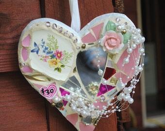 Romantic Heart Mosaic mirror