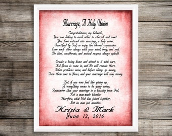 Marriage Poem Shower Gift Wedding Personalized Print
