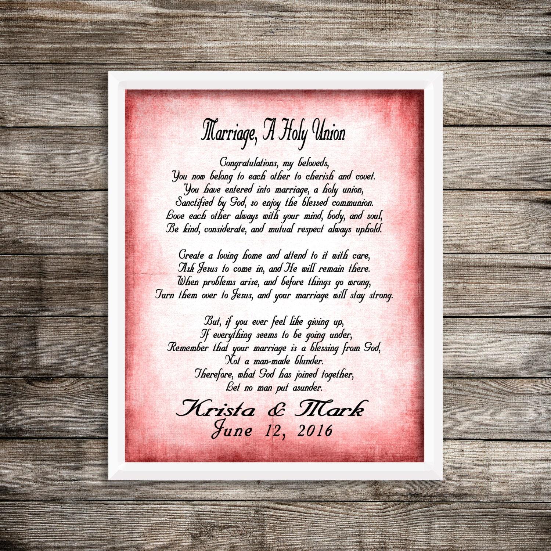 Wedding Gift Bag Poems : Marriage Poem Shower Gift Wedding Poem Gift by NimbleMuse on Etsy