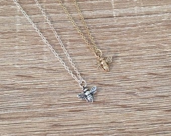 Honey Bee Necklace in Bronze / Sterling Silver, Little Bumblebee Pendant, Insect Jewelry, Minimalist Jewelry, Bridesmaid Gift, Small Charm