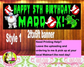 Custom Ghostbusters Banner, Ghostbuster printables, Ghostbusters prints, ghostbusters party, ghosbusters invitations, ghostbusters decor