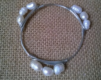 White Pearl Bangle Bracelet