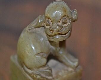 Miniature Foo Dog Wax Seal, Foo Dog Collectible, Soapstone Carving